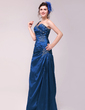 A-Line/Princess One-Shoulder Floor-Length Taffeta Evening Dress With Ruffle Beading (017014020)