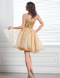 A-Line/Princess Sweetheart Knee-Length Organza Sequined Homecoming Dress (022020680)