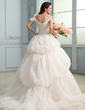 Ball-Gown Off-the-Shoulder Court Train Satin Organza Wedding Dress With Ruffle Lace Beading Bow(s) (002030756)
