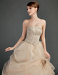 Ball-Gown Strapless Floor-Length Satin Organza Wedding Dress With Ruffle Lace Beading Flower(s) (002012000)