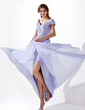 A-Line/Princess V-neck Asymmetrical Chiffon Prom Dress With Ruffle (018021094)