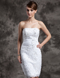 Sheath/Column Strapless Knee-Length Satin Organza Lace Wedding Dress With Beading Flower(s) Sequins (002015021)