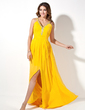 A-Line/Princess V-neck Sweep Train Chiffon Evening Dress With Ruffle Beading Split Front (017017411)