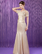 Trumpet/Mermaid V-neck Floor-Length Charmeuse Mother of the Bride Dress With Ruffle Beading Appliques Lace Sequins (008006174)