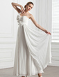 A-Line/Princess Sweetheart One-Shoulder Ankle-Length Chiffon Wedding Dress With Ruffle Flower(s) (002005272)