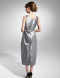 Sheath/Column Scoop Neck Tea-Length Taffeta Mother of the Bride Dress With Ruffle Beading (008015056)