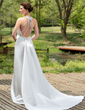 Sheath/Column Halter Watteau Train Detachable Satin Wedding Dress With Ruffle Beading Sequins (002001180)