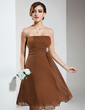 Empire Strapless Knee-Length Chiffon Bridesmaid Dress With Ruffle Crystal Brooch (007020932)