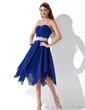 Çan/Prenses Kalp Kesimli Asimetrik Chiffon Lace Mezunlar Gecesi Elbisesi Ile Büzgü Boncuklama (022010996)