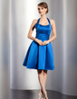 A-Line/Princess Halter Knee-Length Satin Homecoming Dress With Ruffle Flower(s) (022014795)