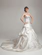 Ball-Gown Sweetheart Cathedral Train Satin Wedding Dress With Embroidered Ruffle Beading (002017562)