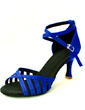 Women's Satin Heels Sandals Latin With Ankle Strap Dance Shoes (053016424)
