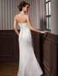Trumpet/Mermaid Halter Floor-Length Chiffon Satin Wedding Dress With Beading Appliques Lace Sequins Cascading Ruffles (002012582)