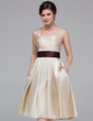 A-Line/Princess One-Shoulder Knee-Length Charmeuse Bridesmaid Dress With Ruffle Sash (007037248)