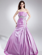 A-Line/Princess Scalloped Neck Sweep Train Taffeta Quinceanera Dress With Embroidered Ruffle Beading (021015860)