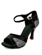 Women's Satin Sparkling Glitter Heels Sandals Latin With Buckle Dance Shoes (053057153)