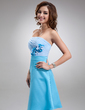A-Line/Princess Strapless Knee-Length Chiffon Charmeuse Homecoming Dress With Ruffle Flower(s) (022016754)