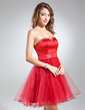 A-Line/Princess Sweetheart Knee-Length Tulle Homecoming Dress With Beading (022015506)