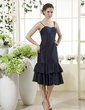 Sheath/Column Sweetheart Knee-Length Taffeta Bridesmaid Dress With Cascading Ruffles (007015444)