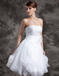 A-Line/Princess Sweetheart Knee-Length Organza Wedding Dress With Lace Beading Flower(s) (002024066)