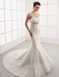 Trumpet/Mermaid Sweetheart Chapel Train Tulle Lace Wedding Dress With Ruffle Beading (002001281)