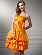 Empire Strapless Knee-Length Taffeta Homecoming Dress With Ruffle Bow(s) (022020874)