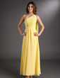 A-Line/Princess One-Shoulder Ankle-Length Chiffon Prom Dress With Ruffle Beading (020016850)