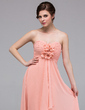 A-Line/Princess Sweetheart Floor-Length Chiffon Bridesmaid Dress With Flower(s) Cascading Ruffles (007037235)
