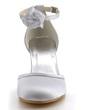 Women's Satin Stiletto Heel Closed Toe Pumps With Buckle Satin Flower (047039722)