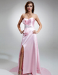 A-Line/Princess Sweetheart Watteau Train Charmeuse Prom Dress With Ruffle Beading Sequins Bow(s) Split Front (018004888)
