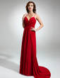 A-Line/Princess Sweetheart V-neck Watteau Train Chiffon Evening Dress With Ruffle (017016340)