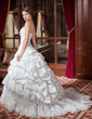 Corte de baile Escote corazón Cola capilla Tafetán Vestido de novia con Volantes Encaje Bordado (002000268)