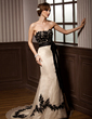 Trumpet/Mermaid Sweetheart Court Train Organza Wedding Dress With Lace Beading Sequins Bow(s) (002004437)