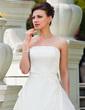 Balo Elbisesi Askısız Kısa Kuyruk Organza Satin Gelinlik Ile Büzgü Boncuklama Pullarda (002011456)