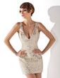 Sheath/Column V-neck Short/Mini Sequined Cocktail Dress (016020815)