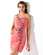 Sheath/Column One-Shoulder Short/Mini Chiffon Homecoming Dress With Ruffle Beading Sequins (022010189)