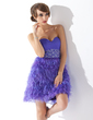 A-Line/Princess Sweetheart Short/Mini Organza Feather Cocktail Dress With Beading Sequins (016008497)