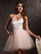 Çan/Prenses Kalp Kesimli Kısa/Mini Satin Tulle Mezunlar Gecesi Elbisesi Ile Boncuklama Aplike (022008954)