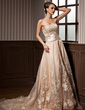 A-Line/Princess Strapless Court Train Satin Organza Wedding Dress With Ruffle Beading Appliques Lace (002012639)