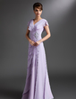 A-Line/Princess V-neck Floor-Length Chiffon Mother of the Bride Dress With Beading Sequins Cascading Ruffles (008006095)