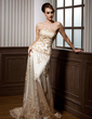 A-Line/Princess Sweetheart Court Train Charmeuse Tulle Wedding Dress With Ruffle Lace (002000169)