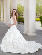 Balo Elbisesi Kalp Kesimli Şapel Kuyruk Satin Gelinlik Ile Büzgü Lace Boncuklama (002000432)