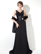 A-Line/Princess V-neck Sweep Train Chiffon Mother of the Bride Dress With Ruffle Crystal Brooch (008006874)