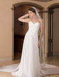 A-Line/Princess Sweetheart Watteau Train Chiffon Wedding Dress With Ruffle (002012774)
