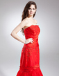 Trumpet/Mermaid Strapless Chapel Train Satin Organza Prom Dress With Ruffle Lace Beading Flower(s) Pleated (018015900)