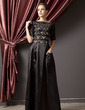 A-Line/Princess Scoop Neck Floor-Length Charmeuse Mother of the Bride Dress With Ruffle (008014245)