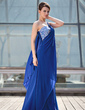 A-Line/Princess One-Shoulder Floor-Length Chiffon Mother of the Bride Dress With Beading (008018700)