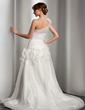 A-Line/Princess One-Shoulder Chapel Train Organza Wedding Dress With Ruffle Flower(s) (002014510)