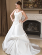 Balo Elbisesi Kalp Kesimli Şapel Kuyruk Satin Gelinlik Ile Büzgü (002011779)