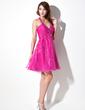 A-Line/Princess Halter Knee-Length Organza Homecoming Dress With Ruffle Beading (022021045)